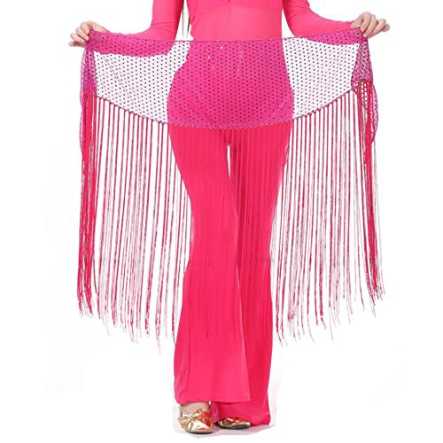 MUNAFIE Belly Dance Hip Scarf Tassel Hip Scarves Skirt Rose Red