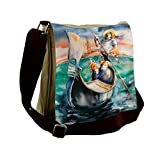 Lunarable Venice Messenger Bag, Couple in Gondolier Italy, Unisex Cross-body