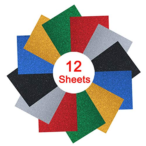 Glitter 12 x 10 Iron on Heat Transfer Vinyl 12 Sheets by SOMOLUX Assorted HTV PU Glitter Bundle Kit of Heat Press Vinyl in 6 Colors Easy Cut & Weed & Press for T-Shirts