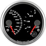 Speedhut GR33-D-WT01FL01 Dual Gauge - Water Temp, Fuel Level, 3-3/8''