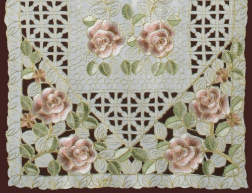 Creative Linens Embroidered Rose Daisy Floral Table Runner 15x53