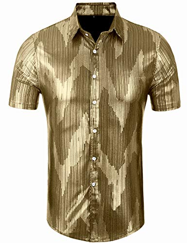 Daupanzees Men's Dress Shirt Sequins Button Down Shirts 70s Disco Party Costume Hipster Shirts for Men (Gold M) ()