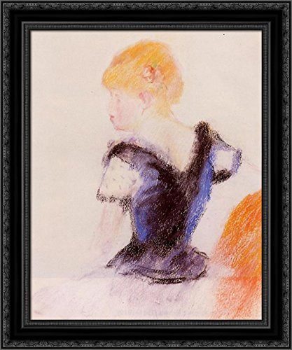 Young Blond Girl 20x24 Black Ornate Wood Framed Canvas Art by Renoir, Pierre Auguste