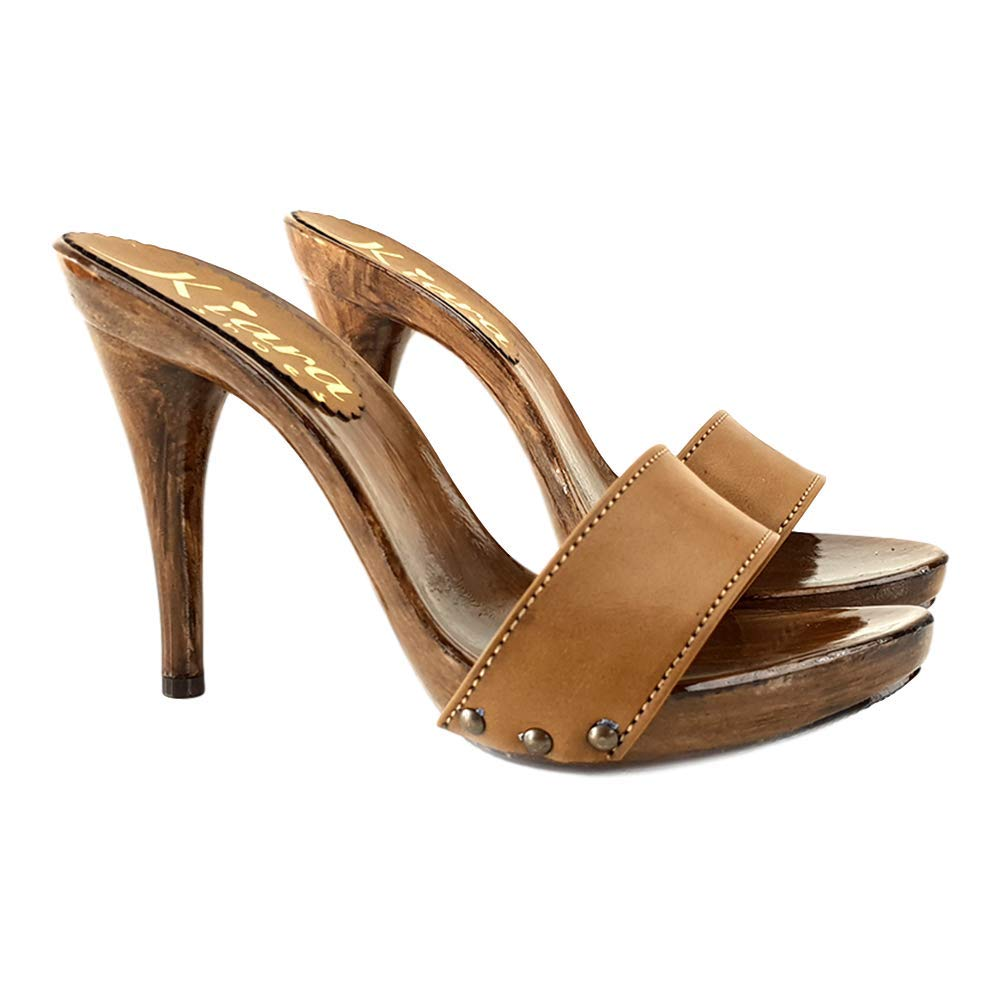 KM7203-CUOIO kiara shoes Brown Handmade Leather Clogs