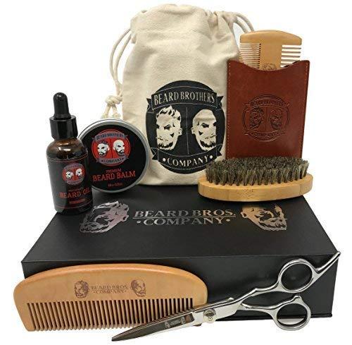 08659b2e266f Premium Beard Grooming Kit for Men Care - Boar Bristle Brush,Wooden Beard  Comb, Organic ..