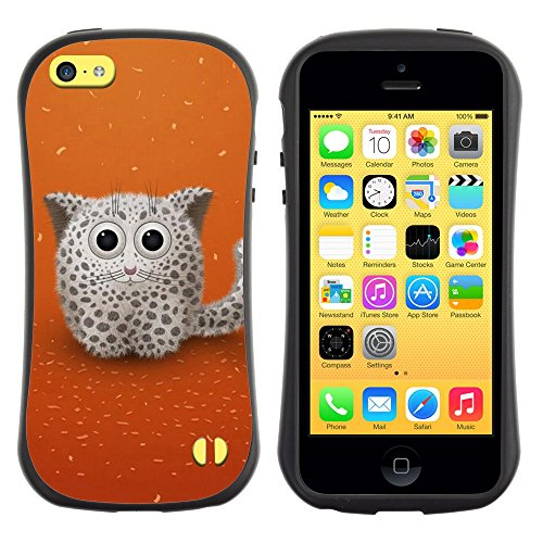 All-Round Hybrid Rubber Case Hard Cover Protective Accessory Gerneration-I Compatible with Apple iPhone 5C - Cute Snow Cat