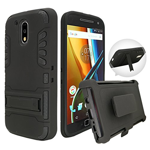 Moto G4 / Moto G4 PlusCase, Customerfirst, Rugged Impact Armor Hybrid Kickstand Cover with Belt Clip Holster Case for Moto G4 / Moto G4 Plus Free Keychain (Ivi)