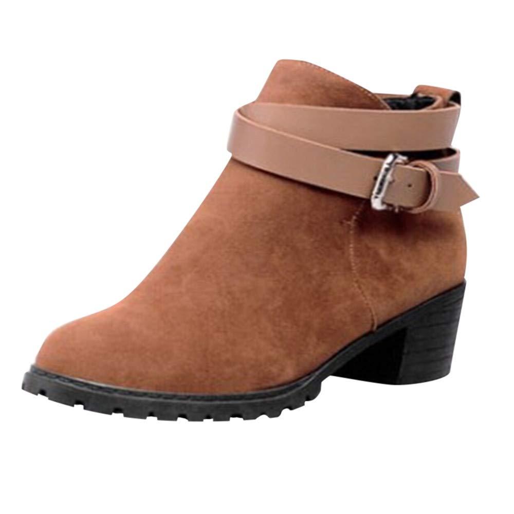 Bottes Hiver Chaussures Femme Bottines Courtes Boucle-Sangle Talon Moyen Romaines Shoes Mode VonVonCo2018080004