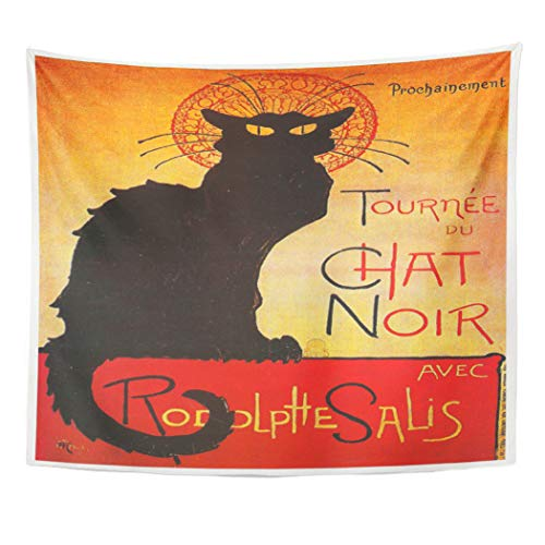 - Semtomn Tapestry Artwork Wall Hanging Tourn¨¦e Chat Noir by Steinlen Vintage Cabaret Cat Rodolphe 60x80 Inches Tapestries Mattress Tablecloth Curtain Home Decor Print