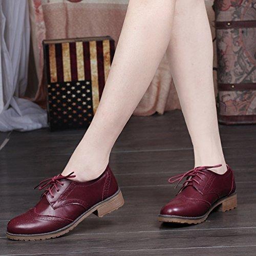 PU Appuntito Brogue Classico Donna Pelle Stringate Dito Marrone Basse Scarpe Yiiquan piede Rosso del Scarpe qE8t4awAw