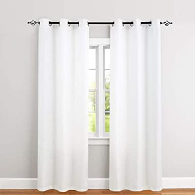 White Curtains for Bedroom 84 inches Length Waffle-Weave Textured Curtain Panels for Living Room Window Treatment Set Kitchen Curtains 2 Panels