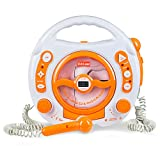 Kids Portable Sing Along CD, MP3 & USB Player, with 2 Microphones, Anti-skip Protection - Orange