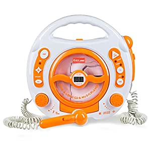 Kids Karaoke Machine – CD Player , MP3 & USB Player, with 2 Microphones, Anti Skip Protection - Orange