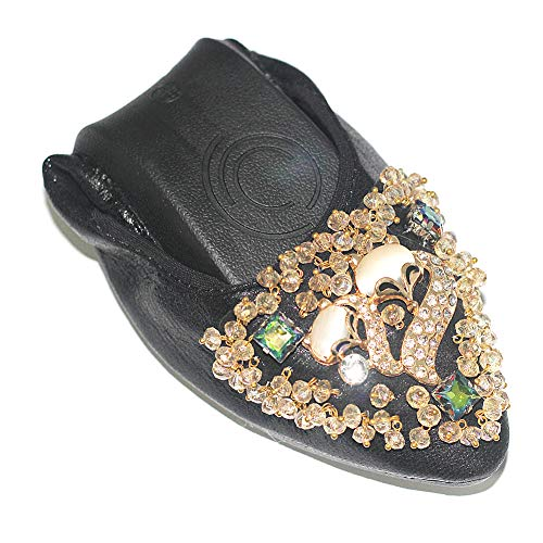 USANDY Women's Wedding Flats Rhinestone Slip On Foldable Ballet Shoes 10