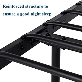 VECELO Reinforced Metal Bed Frame Twin Size, Platform Mattress Foundation/Box Spring Replacement with Headboard & Footboard