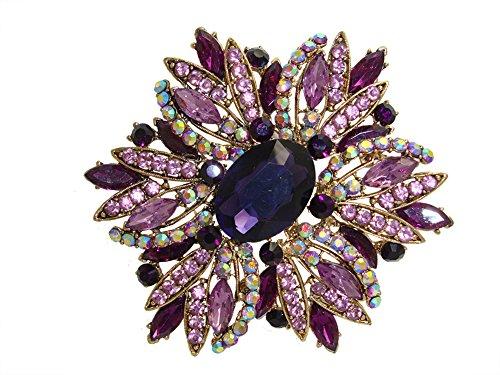 Tone Rhinestone Brooch Flower Gold - TTjewelry 3.82