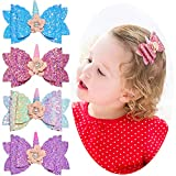 Beinou Unicorn Hair Bows 4 Pcs Glitter Hair Clips for Baby Girls Sparkly Glitter Hair Bow Shiny Hair Barrettes Hair Accessories with Flowers for Daily Wearing