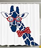Ambesonne Giraffe Shower Curtain Wildlife Animal Decor by, Fun Whimsical Funny Giraffe Wearing Hipster Sunglasses and Bowtie, Polyester Fabric Bathroom Shower Curtain Set with Hooks, Navy Red White