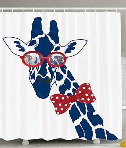 Giraffe Shower Curtain Wildlife Animal Decor Fun Whimsical Funny Giraffe Wearing Hipster Sunglasses and Bowtie Shower Curtain Set
