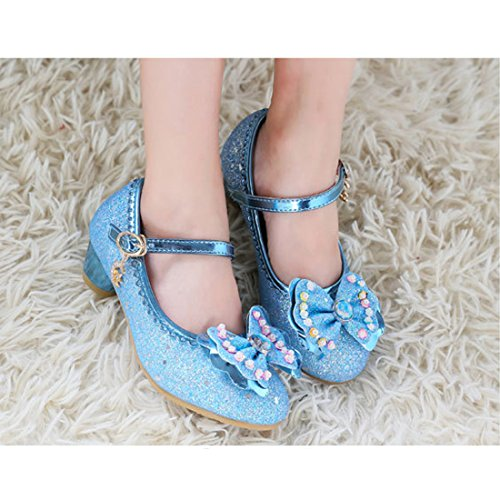 Cool&D Mädchen Sandalen Frozen Schuhe Prinzessin Sandalen Absatz-Schuhe Oxford Sohlen Sandalette mit Glitzerpailletten Blau