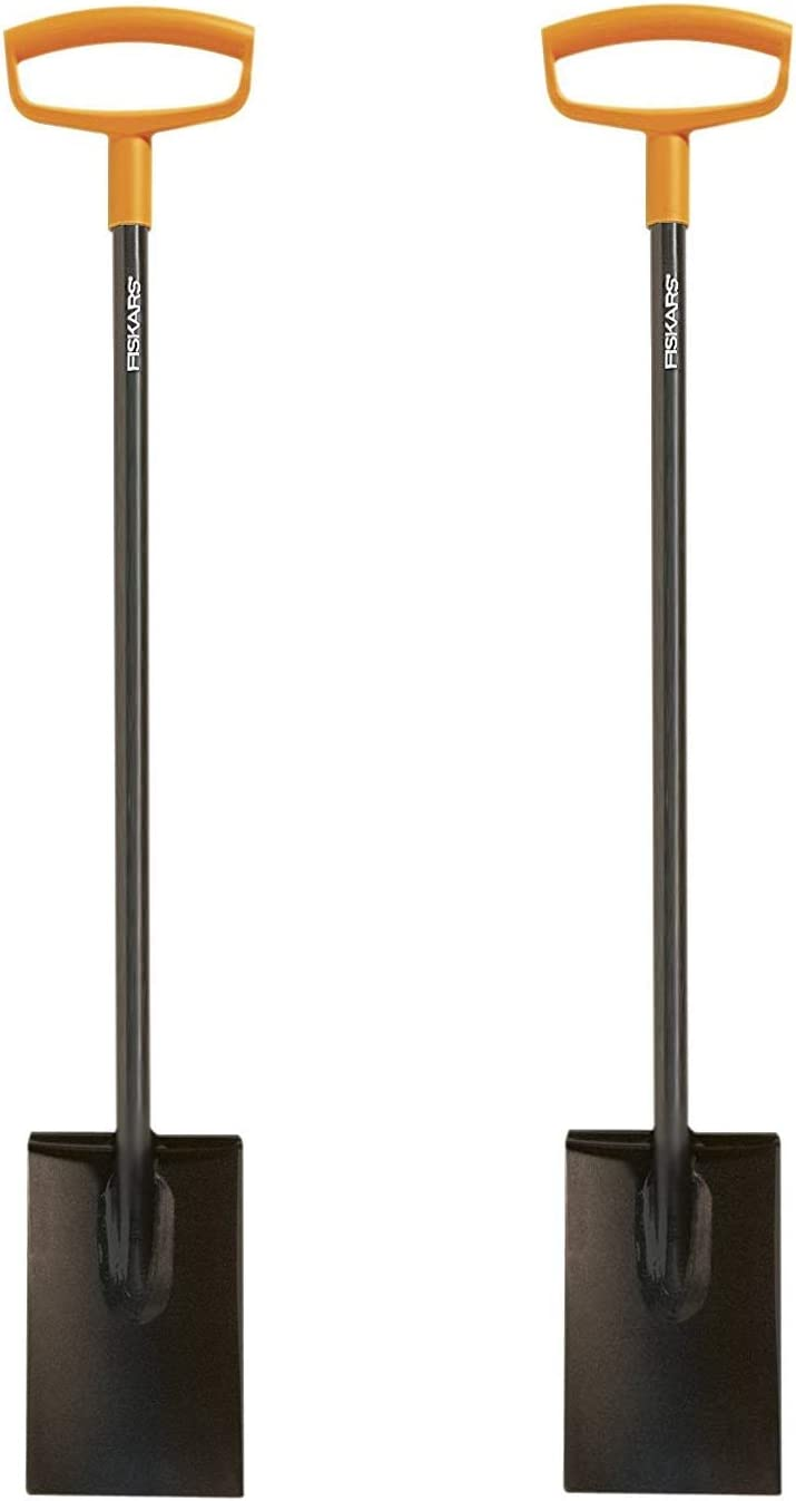 Fiskars 46 Inch Steel D-Handle Square Garden Spade (Pack of 2)