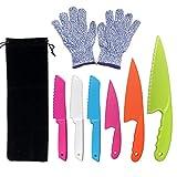 CCUT 6 Pieces Kid Plastic Kitchen Knife Set Children's Safe Cooking Knives Set with Cut Resistant Gloves (Ages 6-12) Kids Safe Knife for Fruit, Bread, Cake, Lettuce, Salad (Multi-color 1)
