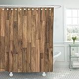 TOMPOP Shower Curtain Brown Wood Parquet Pattern Floor Wooden Plank Dark Oak Waterproof Polyester Fabric 72 x 72 Inches Set with Hooks