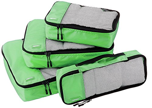 AmazonBasics 4 Piece Packing Travel Organizer Cubes Set - Green