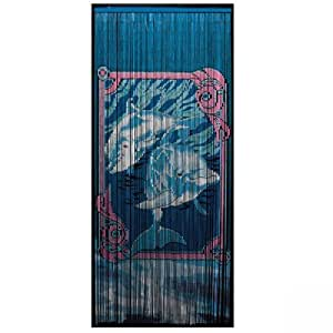 Underwater dolphins hand painted gateways for Hand painted bamboo beaded curtains