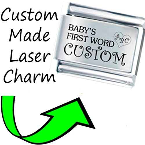 Stylysh Charms Custom Baby 1ST Word Laser Engraved Italian 9mmCP056