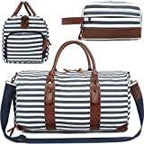 2 PACK Large Weekender Bag for Women Ladies Men Travel Duffle Overnight Bags with Shoe Compartment
