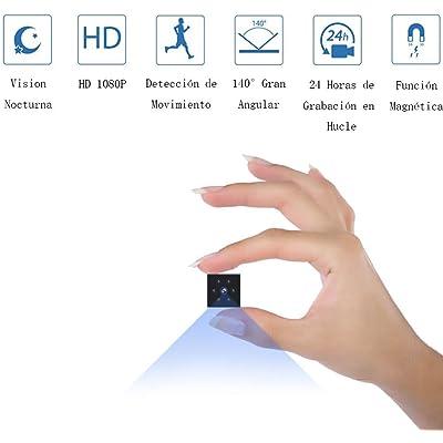 Camaras Espias Ocultas, Mini Camaras Espias 1080P HD Cámara Vigilancia Portátil Secreta Compacta con Detector de Movimiento IR Visión Nocturna, Camaras de Seguridad Pequeña Interior/Exterior