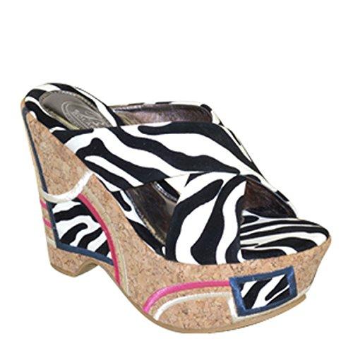 Nieuwe Brieten Dames Sexy Cross Strap Platform Wedge Sandalen Zebra