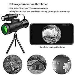 TRISJEM Monocular Telescope, 12x50 High Powered Monocular with WiFi and APP Function, Infrared Night Vision Monocular for Outdoor Trip, Camping Night Watching