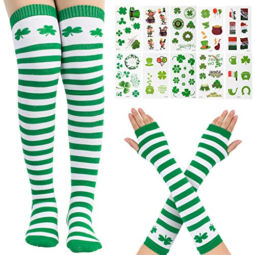 Whaline St Patrick's Day Thick Knee High Socks Stripe Arm Warmer Gloves with 10 Sheet Shamrock Patterned Tattoos for Women Girls Party Favor