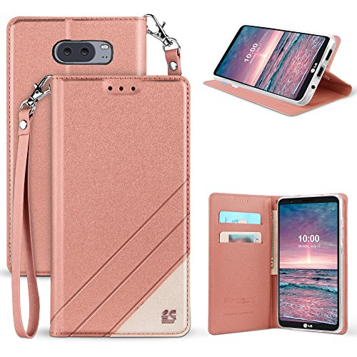 Band Flip Face Wrist Watch (LG V30 Case, Mstechcorp [Kickstand] [Card Slot] PU Leather Folio Flip Wallet Case Cover With Wrist Strap For LG V30 (Rose Gold))