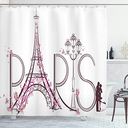 Ambesonne Paris City Decor Collection, Tower Eiffel with Paris Lettering Illustration Couple Trip Flowers Floral Artful Design, Polyester Fabric Bathroom Shower Curtain Set with Hooks, Pink White