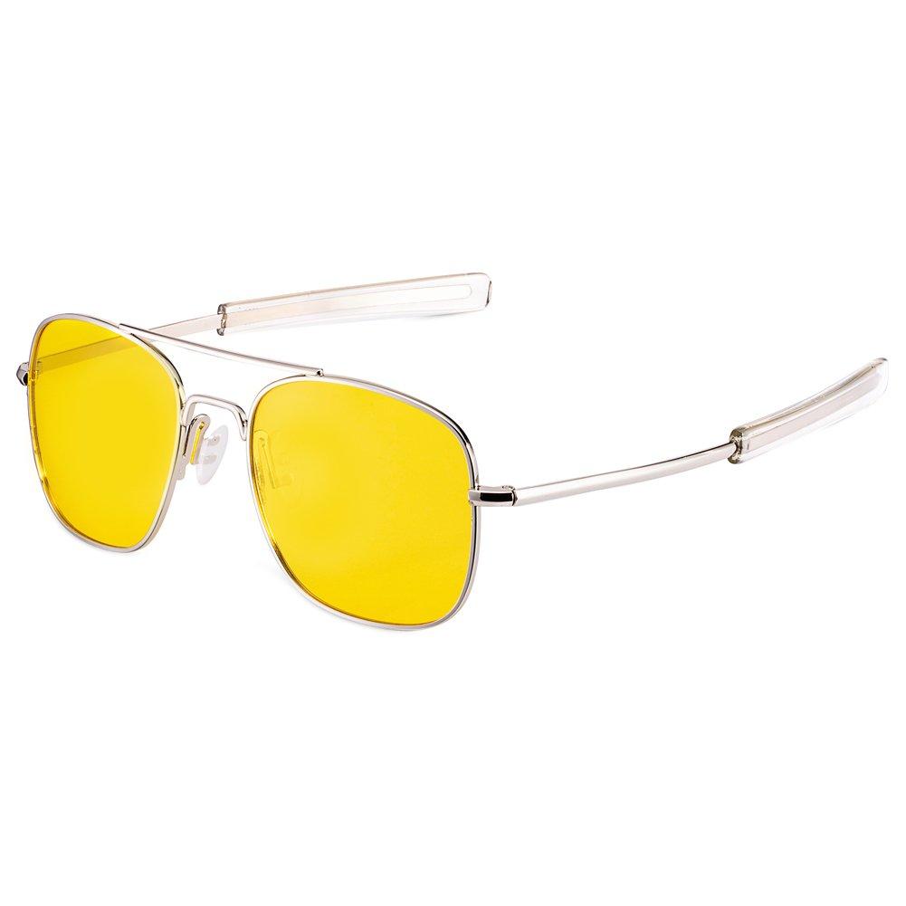 WELUK Night Driving Glasses Polarized 55mm Aviator Sunglasses for Men Yellow Lens
