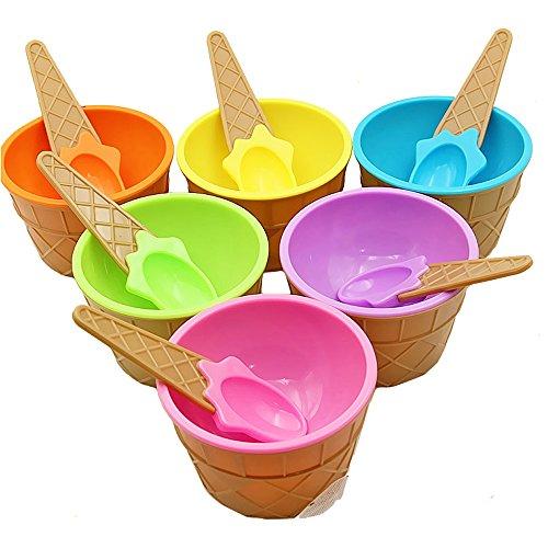 Ice Cream Spoon Set - Ice Cream Bowls,Plastic Sundae Ice Cream Frozen Yogurt Cups with Spoons,Fruit Dessert Bowls For Party(Set of 6) Birthday Gift