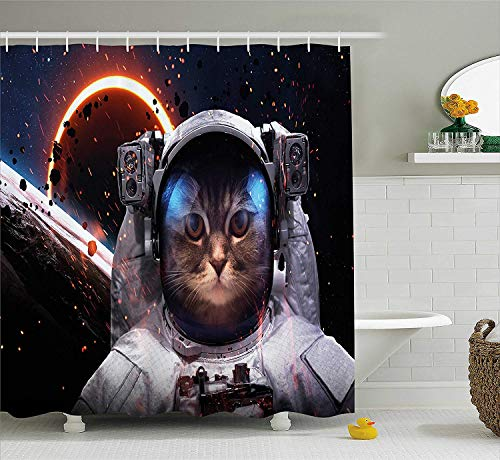 (Space Cat Shower Curtain Cosmonaut in Comet Galaxy Clusters in Outer Space Cosmos Art Print Fabric Bathroom Decor Set with Hooks Long Dark Blue 60