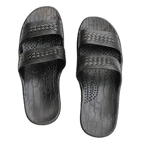 Hawaii Brown or Black Jesus sandal Slipper for Men Women and Teen Classic Style (9, Black)