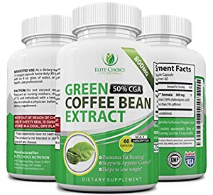 Pure Green Coffee Bean Extract High Dose 1600mg per Day Weight Loss Detox Supplement & Extreme Fat Burner High in GCA's with 50% Chlorogenic Acid 60 Veggie Capsules