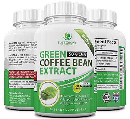 Pure Green Coffee Bean Extract High Dose 1600mg per Day Weight Loss Detox Supplement & Extreme Fat Burner High in GCA's with 50% Chlorogenic Acid 60 Veggie Capsules (Ultra Pure Coffee Bean compare prices)