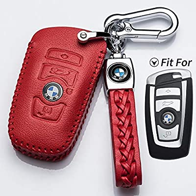 Hey Kaulor for BMW Key Fob Cover, Full Protection Soft Leather Key Fob Case Compatible with 1 3 4 5 6 7 Series and X3 X4 M5 M6 GT3 GT5 Keyless Remote Control Smart Key Fob, Red: Automotive