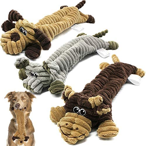 Squeaky Dog Toys for Puppy, No Stuffing Plush Dog Toys for Small Dogs, Interactive Dog Chew Toys with 2 Squeakers, Durable Tough Dog Toys Non-Toxic & Safe for Small and Medium Dogs