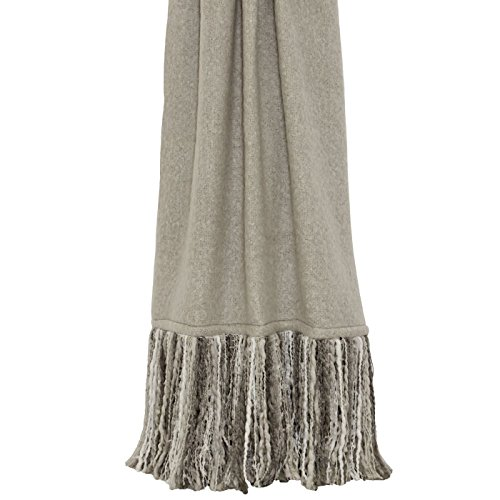 WOOL EFFECT FAUX MOHAIR BEIGE LONG TASSELLED THROW BLANKET 130CM X (Beige Mohair)