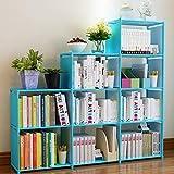 Korie 9-Cube DIY Children's Bookcase 30 inch Adjustable Bookshelf Organizer Shelves Unit, Folding Storage Shelves Unit (Blue)