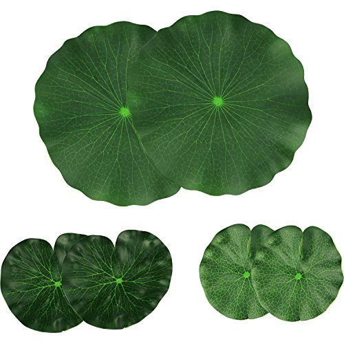 (Lightingsky Artificial Floating Foam Lotus Leaves Artificial Foliage Pond Decor Pack of 6 (30cm+18cm+15cm, Pack of 6))