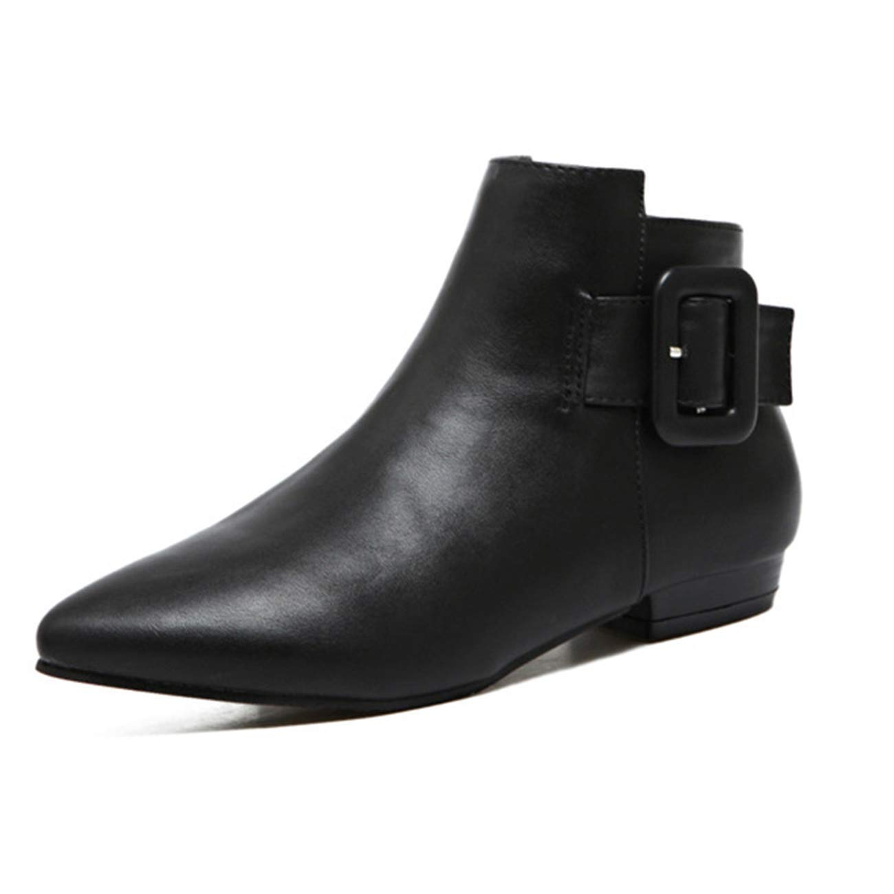 ZHRUI Damen Spitz-Toe Flache Schnalle Zip Ankle Stiefel (Größe     3 UK) 592234