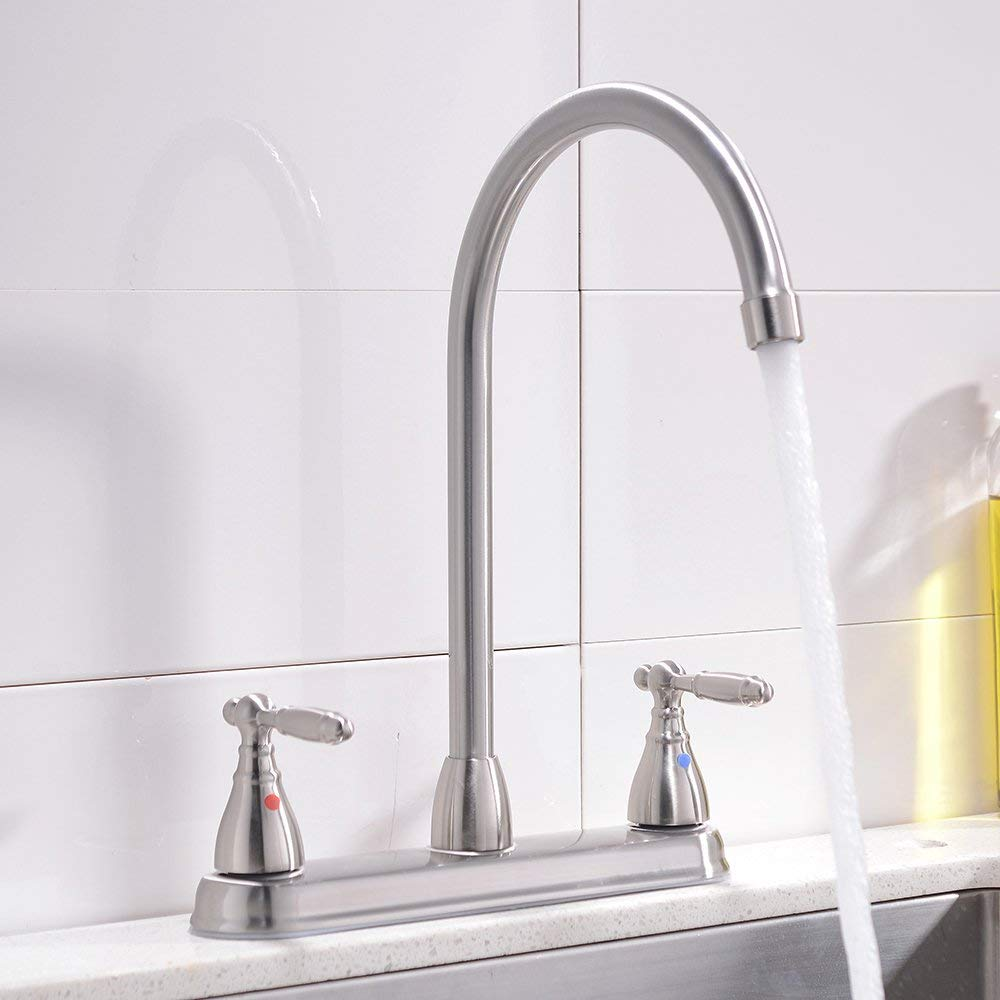 VCCUCINE Well Recommended High Arc Goose neck Two Lever Brushed Nickel Finished Kitchen Faucet, Stainless Steel Swivel Spout Kitchen Sink Faucets by VCCUCINE (Image #5)